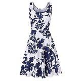 Gibobby Women's Summer Sleeveless Bohemian Floral Empire Waist Flowy Beach Maxi Long Dresses with Pockets White