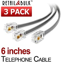 (3 Pack) 6 Inch Short Telephone Cable Rj11 Male to Male, 6p4c Phone Line Cord (6 Inches, Grey)
