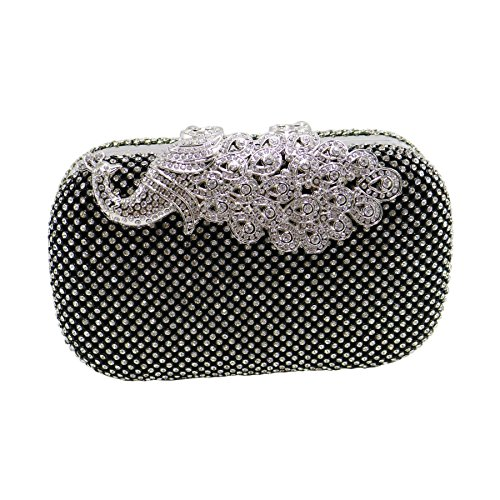 Cocktail Peacock Bags Evening Clutches Prom Black Partys DMIX Crystal b Wedding Womens for and Formal qYawHzx