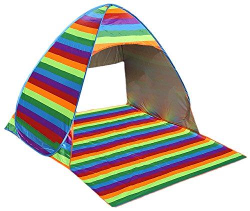 RIGMA OUTDOOR, RAINBOW POP UP SUN SHADE FOR BEACH, INSTANT, PORTABLE CABANA TENT, AUTOMATIC, SUN SHELTER, CANOPY, 2-3 PERSON (Rainbow Sun Shade)