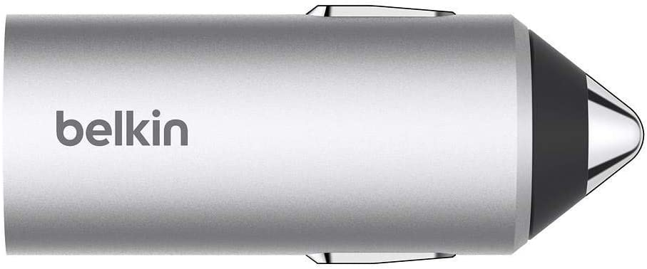 Belkin Car Power Valet – iPhone Car Charger Kit with 4ft/1.2m Lightning Cable and Dash Magnet (2.4 Amp), Silver