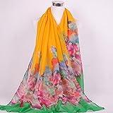 Onlineb2c Women's Cotton Linen Long Scarf Wraps Pashmina Shawls Yellow