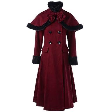 new concept 73fe6 c4b0b Amphia Mantel- Damen Lange Mantel, Frau Zweireiher Wollmischung Jacke, Slim  fit Trenchcoat Lange Ärmel Coat mit Capes