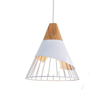 Lustre Aluminium Créatif Cône Lampe Bois Suspension Zaofan Cage ALjq354R