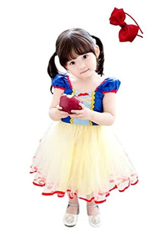 f4f8f15d8ff60 (eones)白雪姫風 ワンピース 子供用 衣装 コスプレ ミニドレス コスチューム カチューシャ セット (