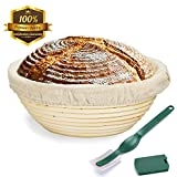 #7: 9 Inch Bread Proofing Basket,WERTIOO Banneton Proofing Basket + Dough Scraper + Linen Liner Cloth for Professional & Home Bakers (Sourdough Recipe)