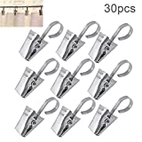 (US) Bonayuanda 30pcs Thickening Stainless Steel Curtain Clips With Hook,Photos Clamp,Home Decoration Arts & Crafts Outdoor Party Wire Holder