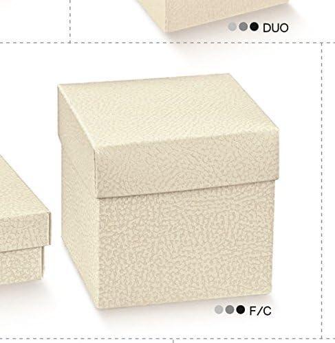 10 piezas caja cartón BOMBONIERA 14 x 14 x 20 cm linea Piel Blanco: Amazon.es: Hogar