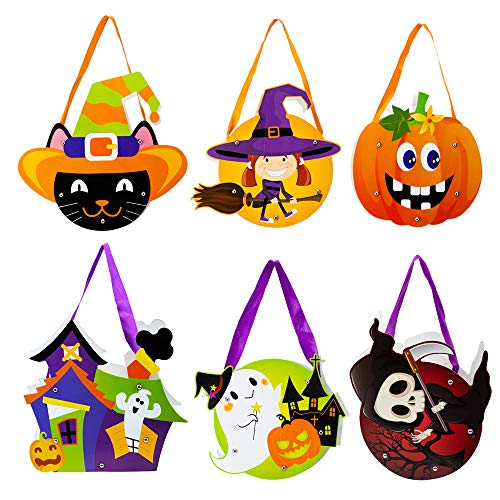 6 Pack Halloween Candy Bags DIY Paper Bags Trick or Treat Gifts Bags Cartoon Pumpkins Ghosts Skull Bags for Kids Halloween Party -
