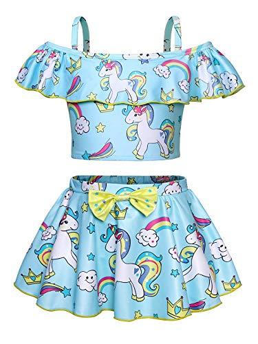AmzBarley Girls Unicorn Bathing Suit Swimming Costume Tow Piece Swimsuit Kids Ruffle Tankini Swim Skirts Beach Wear Pool Holiday Clothes Blue Size 7-8Years