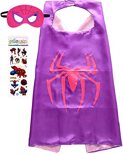 Superhero Costume and Dress up for Kids - Satin Cape and Felt Mask (Spider-Girl) -