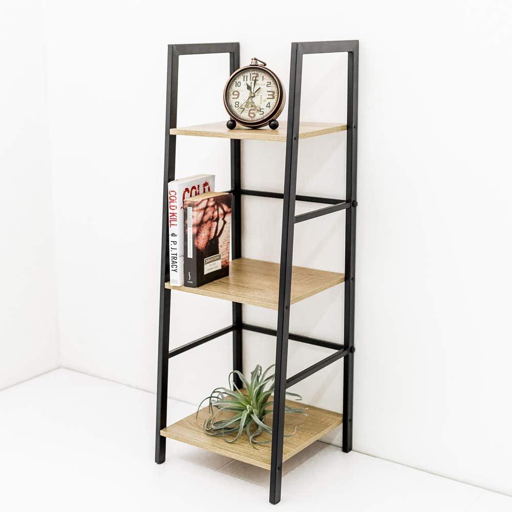C-Hopetree Ladder Bookcase Bookshelf Storage Shelf Vintage Industrial Plant Display Stand Rack Shelving, Home Office Accent Furniture, Black Metal Frame, 3 Tier Slim