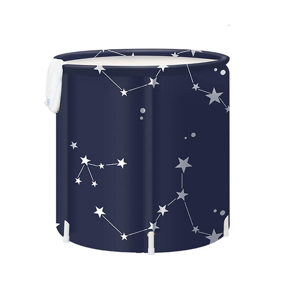 ZH1 Planschbecken Badewanne Faltbare Verdicken Nylon Falten Aufblasbare Kunststoff Haushalt Erwachsene Schaumbad Eimer Langlebig, 70x65 cm (Farbe   Blau) Blau