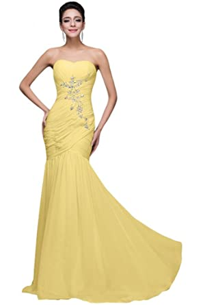 211031a24f2 Sunvary Chiffon Rhinestone Back Lace up Pleated Ruffle Bridesmaid Prom  Dresses-30W-Daffodil  Amazon.co.uk  Clothing