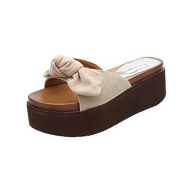 weiwei Damen Dicke Sohlen Sandalen und Hausschuhe,Bow IM Sommer Flache Unterseite Rutschfeste Hausschuhe-A Fußlänge=22.8CM(9Inch)
