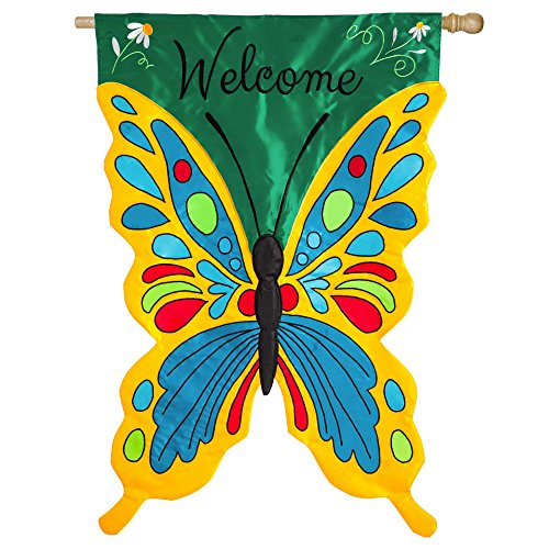 Evergreen Welcome Butterfly Double-Sided Appliqué House Flag - 28