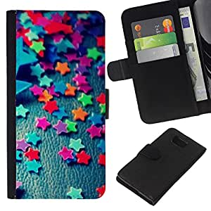 KLONGSHOP // Tirón de la caja Cartera de cuero con ranuras para tarjetas - Trullo Estrellas caramelo Patrón minimalista - Samsung ALPHA G850 //