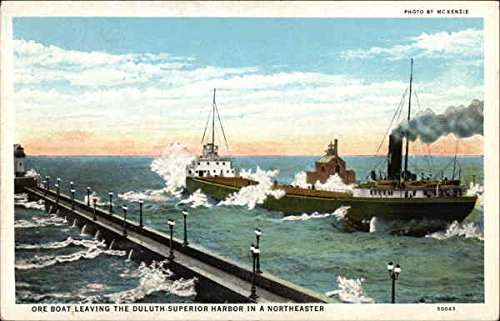 Ore Boat Leaving the Duluth-Superior Harbor in a Northeaster Duluth, Minnesota Original Vintage - Originals Ore Inc