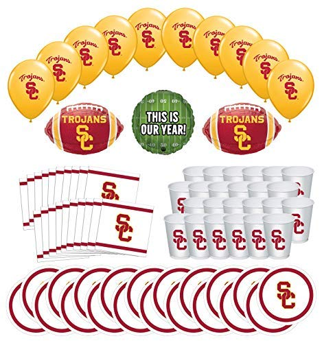 Mayflower Products USC Trojans Football Tailgating Party Supplies for 20 Guest and Balloon Bouquet Decorations
