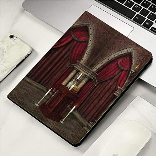 (Stylish Print case for iPad air, ipad air2, Soft Back Ultra-Thin TPU Leather Smart case,Gothic Mysterious Dark Room in Castle Ancient Pillars Candles Spiritual Atmosphere Pattern Red Black)