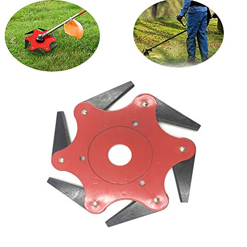 Alygado Trimmer Head Cutter, Lawn Mower Trimmer Head Grass Steel Blades Razors 6 Steel Blades Razors,65Mn Trimmer Head Cutter for Mower Grass, Brush Cutter Head for String Trimmer