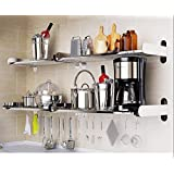 Wall Mounted Floating Shelves Home Organizer Storage Book Case 6 Square Bar 1 Tier (31inch)