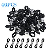 HIFOT 40pcs Holder Chain Glasses Ends Spectacle Chain Strap Loop Ends of Glass Cord Ends of Eyeglass Chain Holder Silicone Lanyard Strap Black