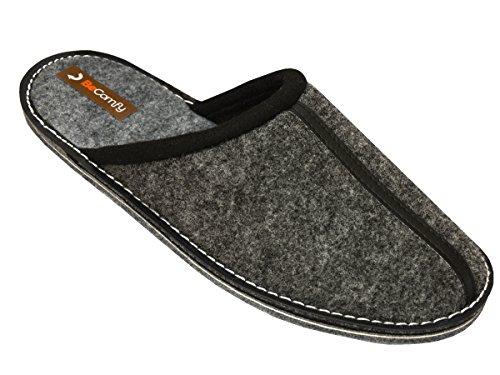 BeComfy - Zapatillas de estar por casa de Fieltro para hombre Grau-Box