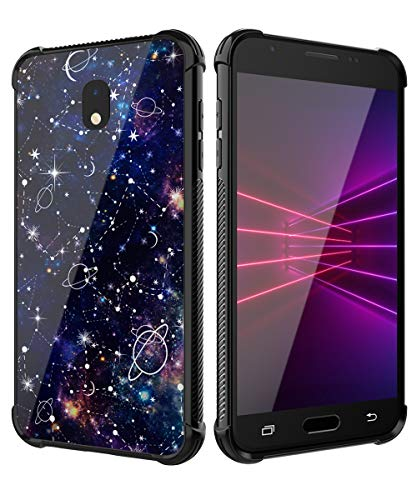 PBRO Galaxy J7 2018 Case,Tempered Glass Back Cover Hybrid Scratch-Resistant Anti-Slip Soft TPU Bumper Cute Case Fit Samsung J7 Refine/J7 Star/J7 TOP/J7 V 2nd Gen 2018/J7 Aero/J7 Aura Universe/Black