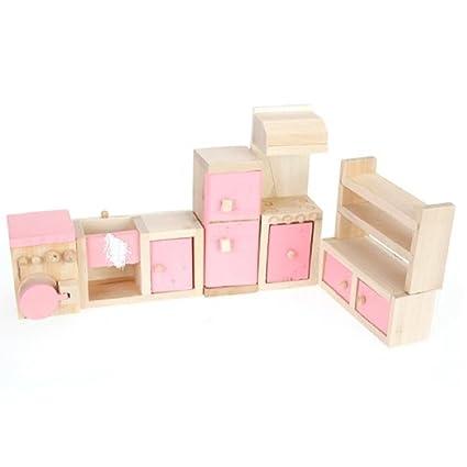 TOOGOO(R) Pink Children Wooden Doll House Kitchen Furniture Kids Room