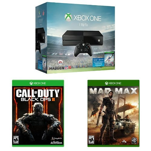 Xbox One 1TB Console - Madden NFL 16 Bundle + Call of Duty: Black Ops III + Mad Max