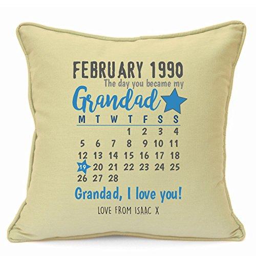 Personalized Presents Gifts For Grandad Grandpa Nanna Birthday Fathers Day Christmas Xmas Calendar Birth Date Cushion Cover 18 Inch 45 Cm Unusual Special Unique Idea Home Decor