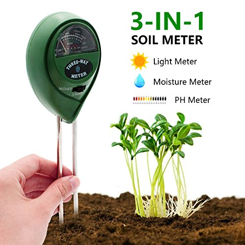 [2018 UPGRADED] Soil Moisture Meter - 3 in 1 Soil Test Kit Gardening Tools for PH, Light & Moisture, Plant Tester for Home, Farm, Lawn, Indoor & Outdoor (No Battery Needed)