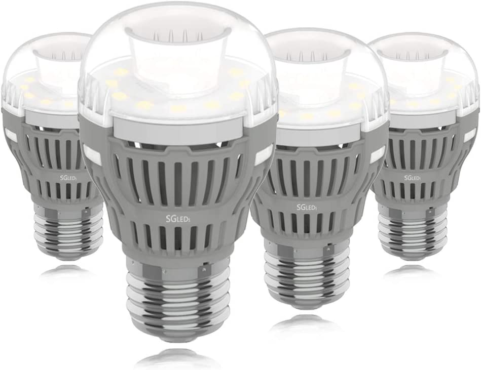 SGLEDS Enclosed Fixture Rated Bulbs, 8W (100W Equivalent LED Bulb), A15 5000K LED Bulbs, Daylight White 800lm Light Bulbs, Indoor and Outdoor, Energy Star, 4Pack