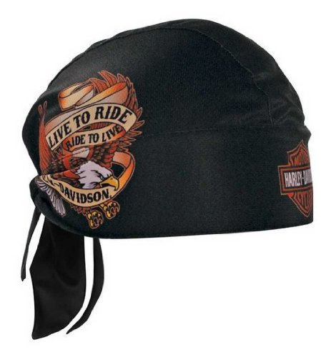 HARLEY-DAVIDSON Live to Ride Eagle Head Wrap Black HW00930 (Harley Davidson Helmet Liner)