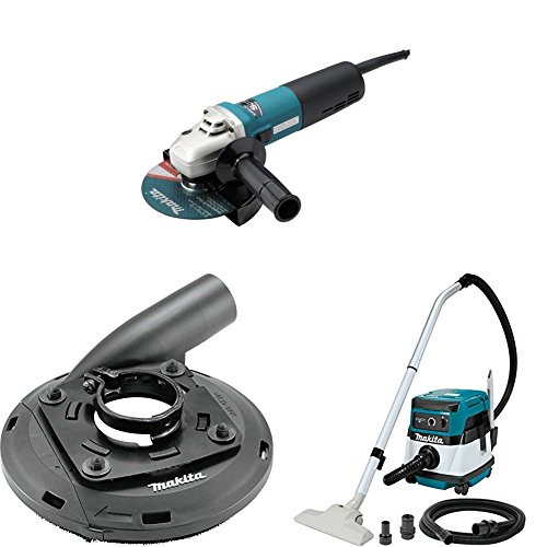 Makita 9566CV 6 inch SJS Cut-Off/Angle Grinder, 195236-5 4-1/2 inch-5 inch Dust Extraction Surface Grinding Shroud, XCV04Z 18V X2 LXT (36V) 2.1 Gallon HEPA Filter Dry Dust Extractor/Vacuum