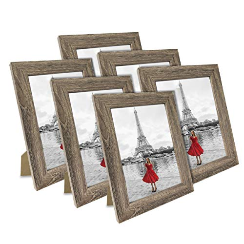 NUOLAN 4x6 Picture Frame Rustic Gray Wood Pattern Art Photo Frames 6 Packs for Wall or Tabletop Display (NL-PF4X6-RG) (4x6 Table Top Picture Frames)