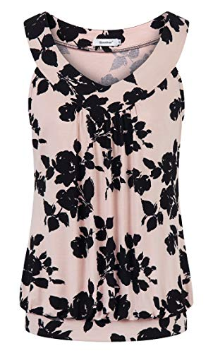(Sixother Plus Size Women Blouses, Attractive Fancy Bohemian Pullover Tunic for Beach Beautiful Smooth Ladies Misses Length Peplum Shirts Athletic Activity Performance Polyester Racerback Pink Black)