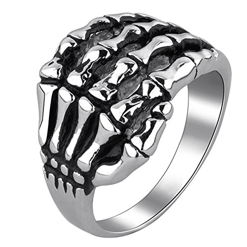 Unistyle Fashion Vintage Jewelry Mens Stainless Steel Finger Rings Tribal Gothic Skull Skeleton Bone Hand Claw Ring Designs Silver Black Biker Punk Rock (8)