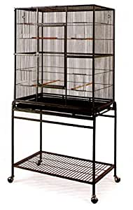 Large Wrought Iron Flight Canary Parakeet Cockatiel Lovebird Finch Cage With Removable Stand #15 Black Bird Cage, 32-Inc