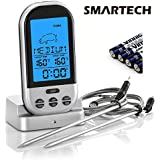 SMARTECH Wireless Thermometer with Pre-set Temperature for BBQ Oven Smoker Grill Meat Thermometer with RF Transmitter and Stainless Steel Probe