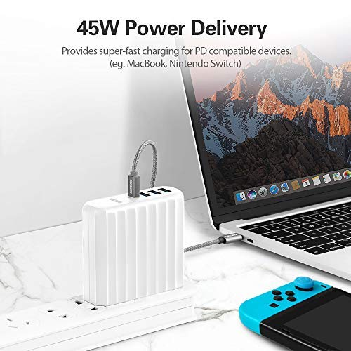 Zendure 63W USB-C PD Wall Charger, (45W Power Delivery & QC 3.0) 4-Port Fast-Charging Travel Adapter Compatible with MacBook, iPhone, Galaxy, Nintendo Switch, Zendure X6 and More - White