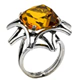 Honey Amber Sterling Silver Faceted Collection Square Ring Size 8