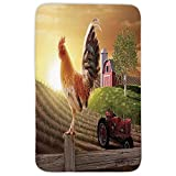 Rectangular Area Rug Mat Rug,Modern,Farm Barn Yard Image Kitchenware and Home Decor Rooster Early Bird Natural Sunrise,Light Brown Red,Home Decor Mat with Non Slip Backing