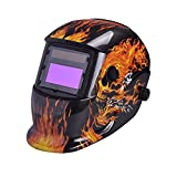 Nuzamas Solar Powered Auto Darkening Welding Helmet Mask Weld Fire Skull Face Protection for Arc Tig Mig Grinding Plasma Cutting with Adjustable Shade Range DIN4/9-13 UV/IV protection DIN16