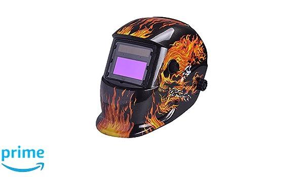 nuzamas funciona con energía solar auto oscurecimiento soldadura casco máscara de soldadura fuego calavera cara protección para Arc Tig Mig de Molienda de ...