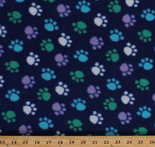 Fleece Blue Green White Purple Paws on Royal Blue Paw Prints Dogs Pets Animals Fleece Fabric Print by the Yard 32438-10m-pawsblue