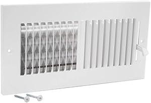 "EZ-FLO 61609 Two-Way Sidewall/Ceiling Register, 10"" x 4"", White"