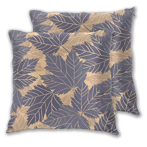 USHMX Mens Pillow Case Standard Size Set of 2, Leaf Flower Tree Electric Blue Plant Printed Pillow Cover Square Throw Decorative Cushion Pillow Cover -