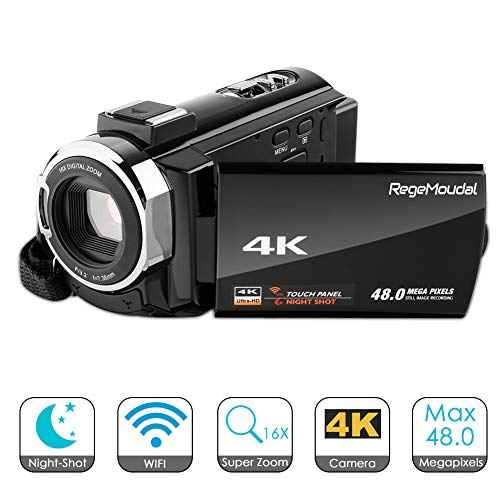 4k Camcorder,Regemoudal 1080P Video Camera Camcorder 128GB 48MP 3 Inch WiFi Digital Video Camera Camcorder,Capactive Touchscreen IR Infrared Night Vision 16X Digital Zoom